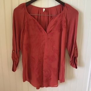 Anthropologie TINY 3/4 sleeve embroidered blouse